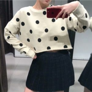NWT: ZARA Polkadot Printed Cropped Sweatshirt
